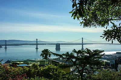 Bayside Painting - That Other Bridge In San Francisco - Bay Bridge Framed By Trees by Georgia Mizuleva
