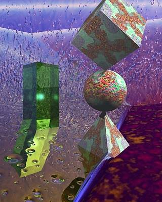 Green Surreal Geometry Digital Art - That Other Place by Maurits Rol