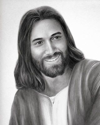 Smiling Jesus Drawing - That They Might Have Joy by Brent Borup