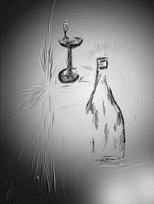 Wine Art Drawing - That Was Good by John Krakora