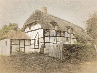 Digital Art - Thatched Cottage In Micheldever by Jayne Wilson