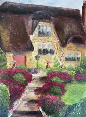 Landscape Painting - April Cottage The Cotswolds by Roxy Rich