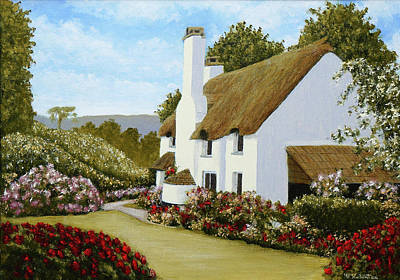 Thatched Cottage, Selworthy Art Print by Mark Woollacott