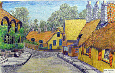 Dave Drawing - Thatched Cottages by Dave Edwards