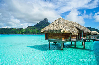Photograph - Thatched Roof Honeymoon Bungalow On Bora Bora by IPics Photography
