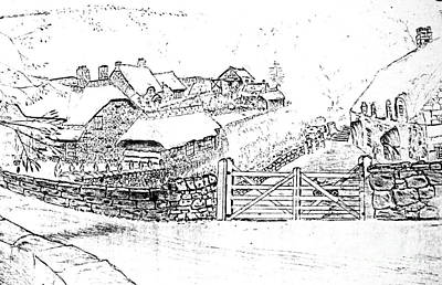 Drawing - Thatched Roof Stone Cottages by Hazel Holland
