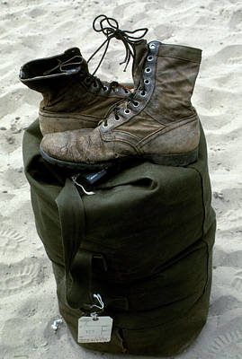 Photograph - Boots And Duffel Bag Going Home by Robert Holden