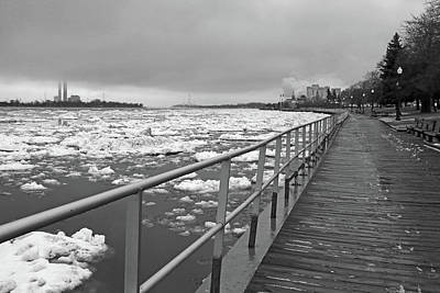Photograph - Thaw Along The Boardwalk In Saint Clair Bw 2017 7 by Mary Bedy