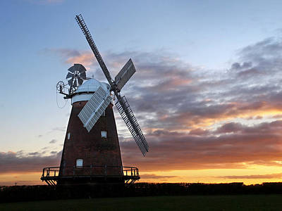 Prairie Sunset Wall Art - Photograph - Thaxted Windmill At Sunset by Gill Billington