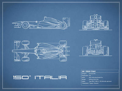 Formula Car Photograph - The 150 Italia Gp Blueprint by Mark Rogan
