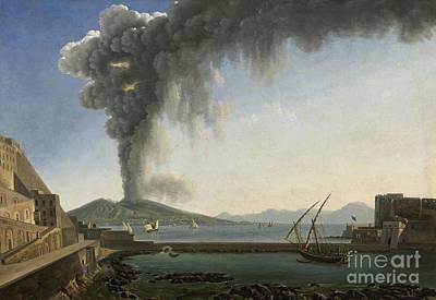 Beach Landscape Drawing - The 1813 Eruption Of Vesuvius Naples by Celestial Images