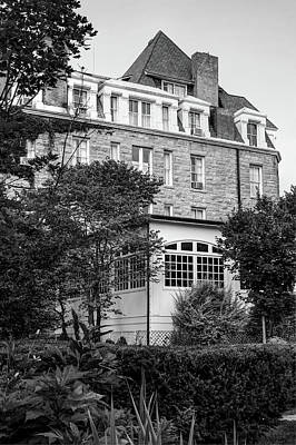 Photograph - The 1886 Crescent Hotel Gardens - Eureka Springs Arkansas - Black And White by Gregory Ballos