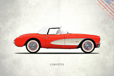 The 1957 Corvette Art Print by Mark Rogan