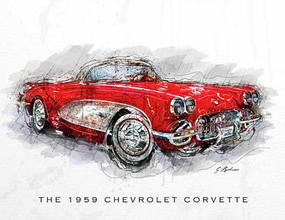 Antique Automobiles Digital Art - The 1959 Chevrolet Corvette II by Gary Bodnar