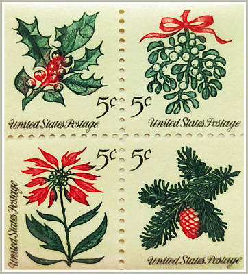 Painting - The 1964 Christmas Stamps by Lanjee Chee