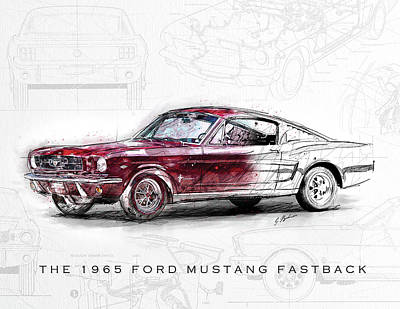 Classic Car Drawings Digital Art - The 1965 Ford Mustang Fastback  by Gary Bodnar