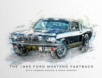 Classic Car Drawings Digital Art - The 1965 Ford Mustang Fastback II by Gary Bodnar