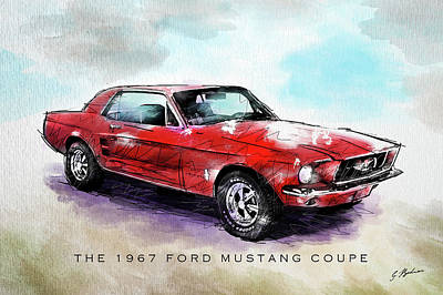Classic Car Drawings Digital Art - The 1967 Ford Mustang Coupe by Gary Bodnar