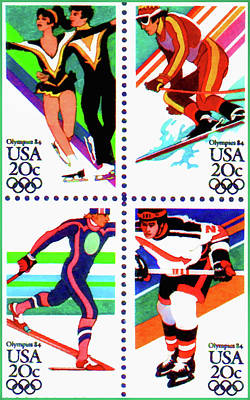 Olympic Hockey Painting - The 1984 Winter Olympic Games Stamps by Lanjee Chee