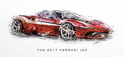 The 2017 Ferrari J50 Art Print by Gary Bodnar