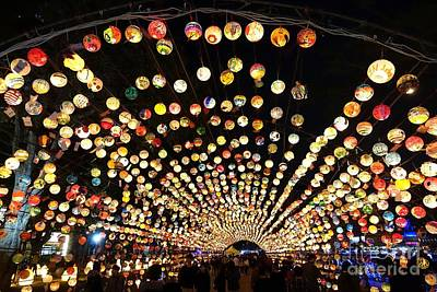 Print featuring the photograph The 2017 Lantern Festival In Taiwan by Yali Shi