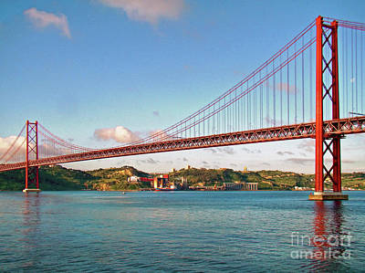 Photograph - The 25th Of April Suspension Bridge by Sue Melvin