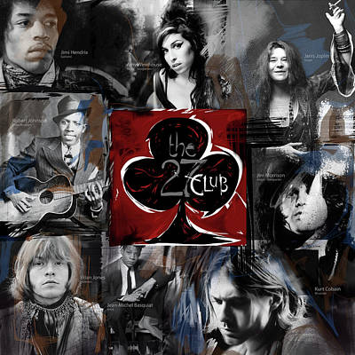 Musicians Mixed Media Royalty Free Images - The 27 Club Royalty-Free Image by Russell Pierce