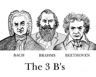 Brahms Digital Art - The 3 B's by Paul Helm