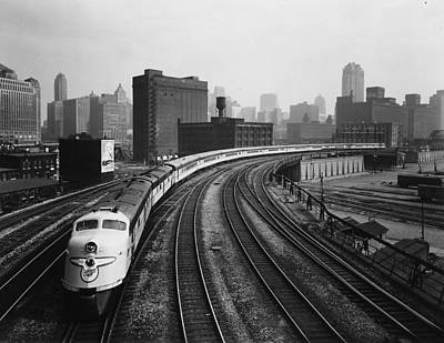 Photograph - 400 Passenger Train Leaves Chicago Terminal - 1963 by Chicago and North Western Historical Society