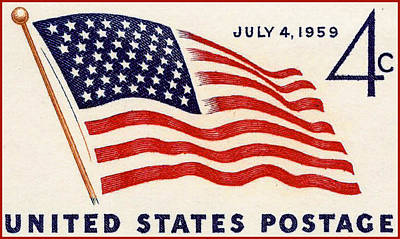 United States Postage Painting - The 49 Star Flag Stamp by Lanjee Chee