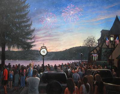 Fireworks Painting - the 4th of July on Lake Mohawk by Tim Maher