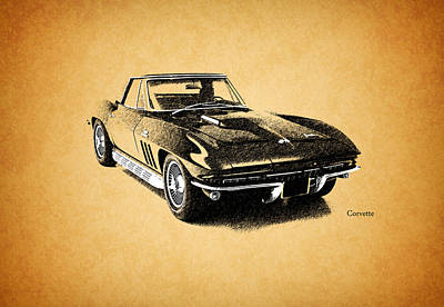 The 66 Vette Art Print by Mark Rogan