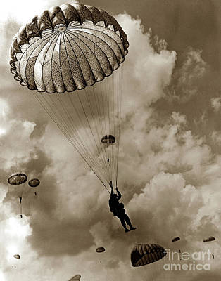 Photograph - The 82nd Airborne  Hits The Silk Fort Ord 1953 by California Views Mr Pat Hathaway Archives