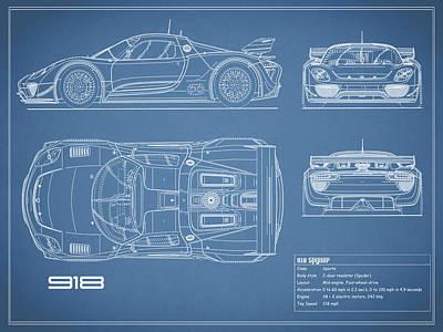 The 918 Spyder Blueprint Art Print by Mark Rogan
