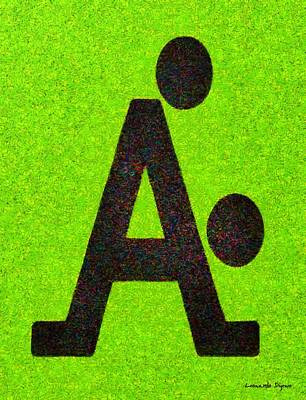 Alphabet Painting - The A With Style Lime - Pa by Leonardo Digenio
