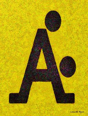 Arrow Painting - The A With Style Yellow - Pa by Leonardo Digenio