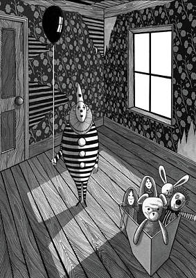 Light And Dark Drawing - The Abandoned Clown  by Andrew Hitchen