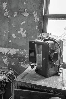 Photograph - The Abandoned Projector Bw by Kristia Adams