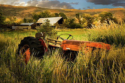 Farm In Woods Photograph - The Abandoned Tractor - 2 by TL Mair