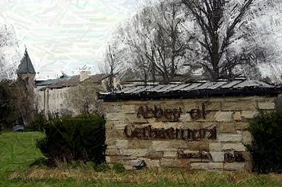Library Digital Art - Welcome To Abbey Of Gethsemani - Trappist Ky by Thia Stover