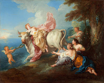 De Troy Painting - The Abduction Of Europa by Jean-Francois Detroy