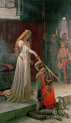 Pre-raphaelite Painting - The Accolade by Edmund Blair Leighton