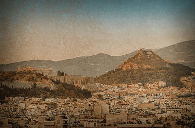 Photograph - Athens, Greece - The Acropolis And Lykabettus Hills by Mark Forte