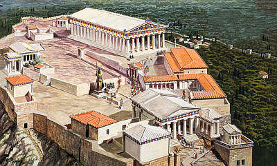Reconstruction Painting - The Acropolis And Parthenon by Roger Payne