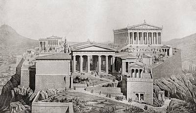 Athens Drawing - The Acropolis, Athens, Greece As It by Vintage Design Pics
