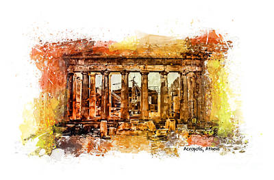 The View Mixed Media - The Acropolis Of Athens by Justyna JBJart