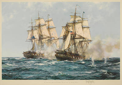 Constitution Painting - The Action Between The Java And Constitution by After Montague Dawson