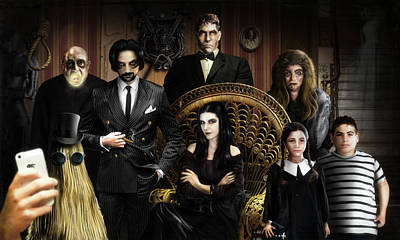 Scary Digital Art - The Addams Family by Alessandro Della Pietra