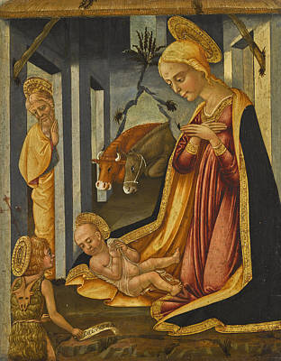 Painting - The Adoration Of The Christ Child With The Young Saint John The Baptist by Neri di Bicci