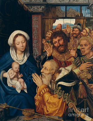 Caspar Painting - The Adoration Of The Magi, 1526 by Quentin Massys or Metsys
